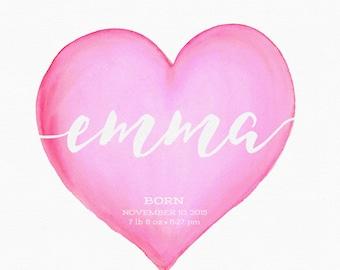 Hot Pink Nursery Art, Nursery Wall Art, Girl Nursery Art, Nursery Artwork, Baby Gift, Heart Art, Watercolor Heart, Personalized, Bright Pink