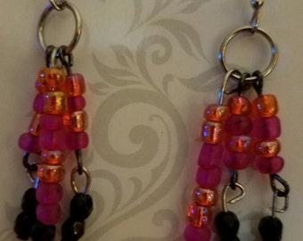 pink dangle earring