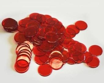 100 Plastic Bingo Chips, Red
