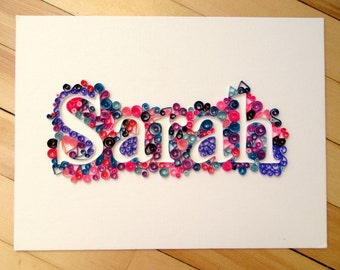 Custom Quilled Name or Word, Paper quilled wall art, canvas art, gift, name art, home decor word art by Maritime Handcrafts, Made to Order