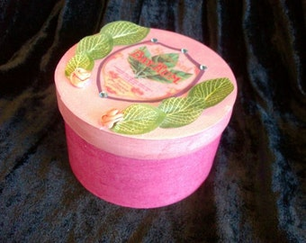 Quaint pink gift box embellished with flowers, leaves, rhinestones and vintage art