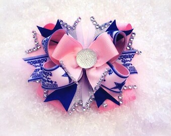 Dallas Cowboys bow, boutique bow, stacked hairbow, pink Cowboys bow