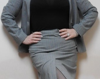 Suit skirt and jacket. Cadet gray