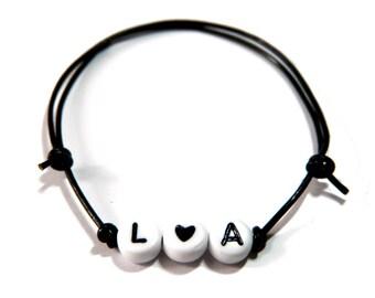 Black name bracelet, letters & Black heart
