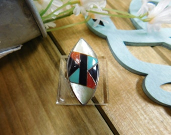 "Sterling Silver Vintage Inlay Ring ""C Gasper"""
