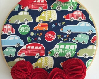 "8"" Nursery/Bedroom Wall Hanging Hoop - Fun Cars"