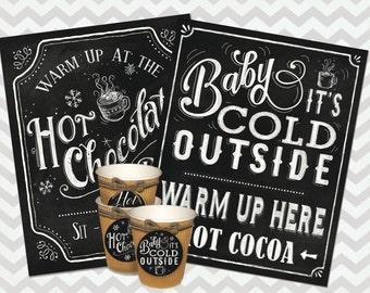 Hot Cocoa Bar Sign and cup labels, Hand drawn Chalkboard Hot Chocolate