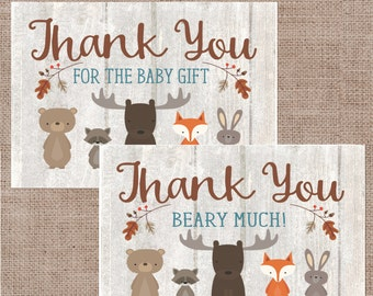 Baby Shower Thank You Cards, Woodland Animal Whitewash Thank You