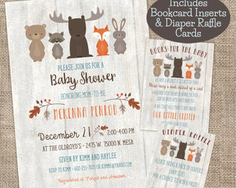 Whitewash Woodland Baby Shower Invitation, Bookcard Inserts, and Diaper Raffle Cards combo