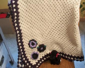 Cream and Dark Purple with Flowers Crochet Baby Blanket