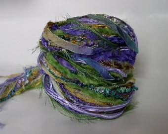 IRIS' BEAUTY, 26 yd Adornment Fiber Art Bundle, Specialty ribbon and Yarn Embellishment