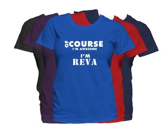 REVA Womens First Name T Shirt First Name Family Name Custom Personalized Name T-Shirt