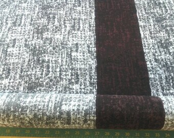 Black and White Fabric, black and white print, with horizontal Lengthwise Burgundy Stripe, Sketchy print, Made in Italy