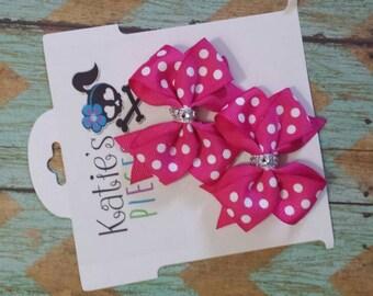 Pink Pig tail hair bow set