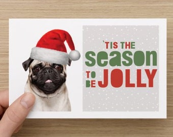 Pug Greeting Card - Christmas