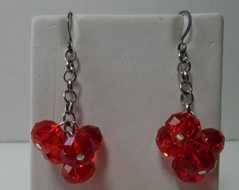 Ruby Faceted Glass Beads on Gun Metal Chain with Gun Metal Ear Wires