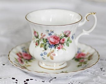 """Sweet well-known Royal Albert's  """"Moss Rose"""" Cup And Saucer in Montrose shape c1950s (small size)"""