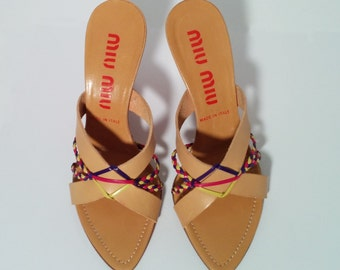 Miu Miu Wedge Sandals with pink, yellow, purple leather plaiting detail