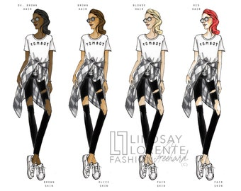 Customizable Fashion Gift, Tomboy Shirt, Fashion Illustration, Customizable Wall Art, Custom Birthday Gift, Chic Wall Art, Tomboy