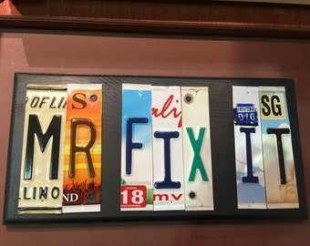 Mr Fix It Sign. License plate sign. Room decor