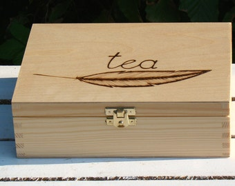 made to order tea box tea bag box 6 compartment tea box rustic tea organizer wood burned