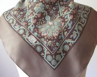 Vintage Liberty of London intricate stylized floral design silk twill scarf