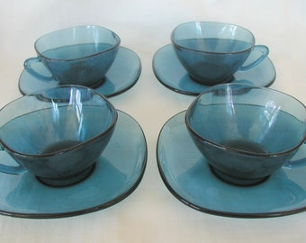 Retro Blue French Glass Tea Set 1970's