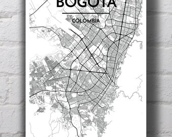 Black & White Bogota City Map Print