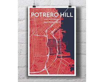 Potrero Hill - San Francisco City Map Print