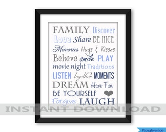 Family Subway Art, Word Art, Digital File Jpeg