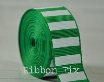 "2 yards 7/8"" Emerald Green with White Vertical Stripe Grosgrain Ribbon - Bold Stripes - Wedding - Baby - Home Decor - Dog Collar Leash - Sew"