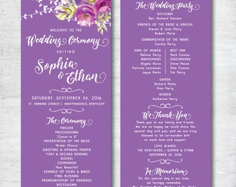 Wedding Programs, Wedding Program Printable, Wedding Program Template, Wedding Program Template Download, Purple Wedding, Floral Wedding