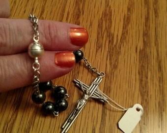 Black Swavorski Pearl Car Rosary