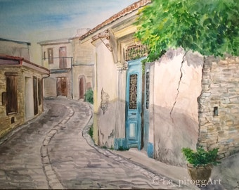 Lefkara village original painting
