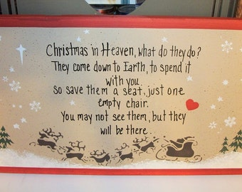 CHRISTMAS in HEAVEN wood MEMORIAL sign,Christmas decor,remembrance sign