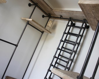 Sorrenti Reclaimed Scaffolding Board and Dark Steel Pipe 3 sided Industrial Open Wardrobe/Dressing Room Shelves, Drawers and Hanging Rails