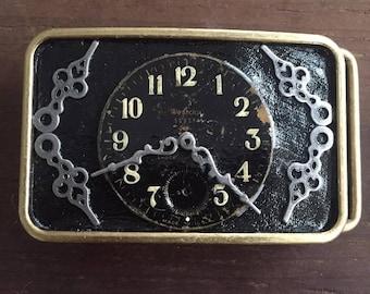 Steam Punk Clock Art Belt Buckle