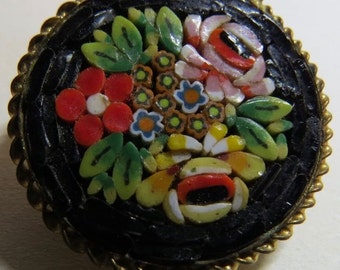 Hand designed unique and gorgeous vintage Italian mosaic brooch