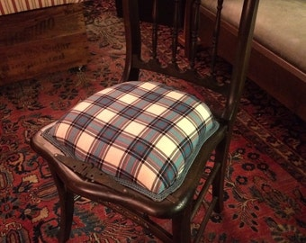 Boho Blue and Red Plaid Spring Upholstered Chair