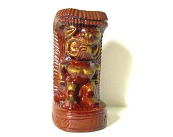 Ceramic Tiki Bank, Brown Gold Coin Savings Piggy Bank, Slotted Still Coin Bank Figurine, Polynesian God