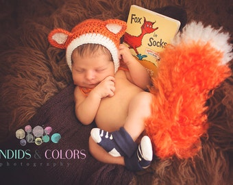 SALE****Fox Hat and Bushy Tail, Newborn Photo Prop, Made to Order