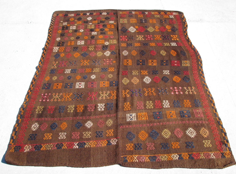 Asymmetric Primitive Turkish Nomadic Hand Made Embroidery Kilim Rug