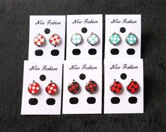 Large Polka dots Epoxy-resined earrings