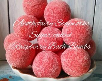 DOLLAR BATH BOMBS, 5 small Raspberry Bath Bombs, Bath Bombs, Tub Treats, Bath Fizzies, Shower favors, Baby Shower Favors, Wedding Favors