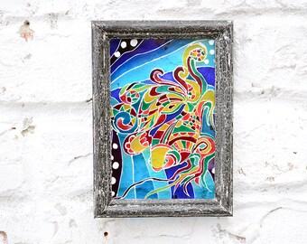 Glass painting, Glass art, Glass wall art, Glass paint, Reclaimed wood frame, Hand painted glass, Acrylic glass, Acrylic painting on glass.