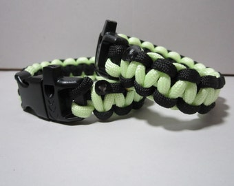 Glow in the Dark Paracord Survival Bracelet with a Safety Whistle