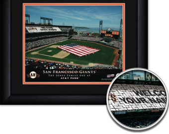 "San Francisco Giants MLB Baseball Personalized Card Stunt American Flag 15""x18"" Framed Art Print  Free Shipping"