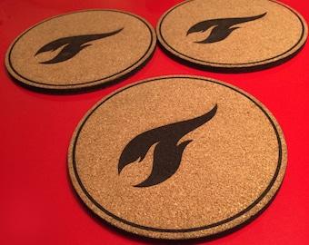 Laser cut Cork Pot Coasters - Flames