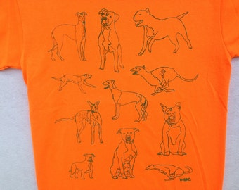 Pit Bull Tee Shirt- Greyhound Tee Shirt- Pit Bull Gift- Greyhound Gift- Woman's Tee- Men's Tee- Dog Rescue Tee- Hand Drawn- Size Kids XL