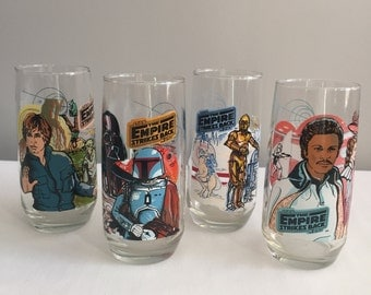 Original Star Wars Empire Strikes Back Full Set of Glasses from the 1980s